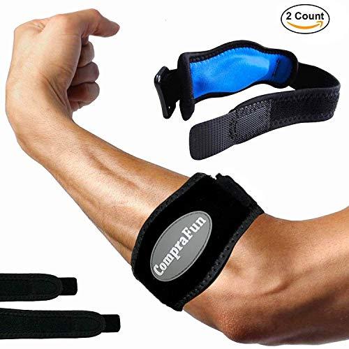 Tennisarm Bandage, CompraFun 2 Stück Epicondylitis Spange llenbogenbandagen mit Kompressionskissen für Schmerzlinderung, Einstellbar Bandage für Golfer/Tennisspieler Damen/Herren