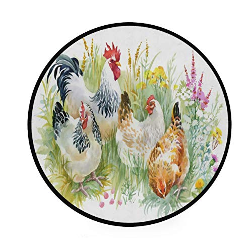 Rooster and Chicken Floral Round Area Rug Non-Slip 3 x 3 Feet