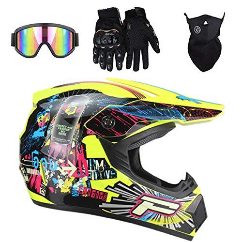MJH-001 Big 'P' Sign - Casco de moto para niños, con máscara de gafas y guantes de BMX, para niños y niñas, el mejor regalo - Color: amarillo