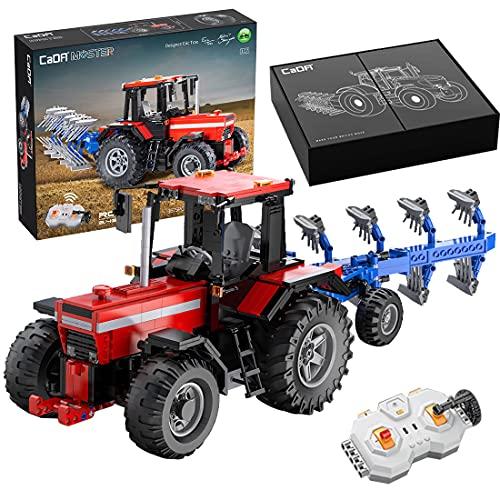 WWEI Mini tractor de piezas de construcción de piezas de construcción, 2,4 G, tractor teledirigido con motor, 1675 piezas CADA C61052W, compatible con el tractor Lego 42102 Mini Claas Xerion Tractor