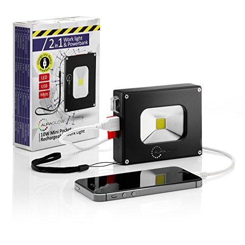 Auraglow 10w LED Rechargeable Lumière d'inondation portable sans fil - 100w Eqv & 4000mAh Chargeur de téléphone portable Power Bank