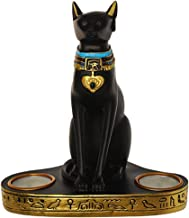Generic Collection Egyptian Bastet Statue Vintage Style Cat Goddess Bastet Statue Egyptian Cat Candlestick Resin Candle Ho...