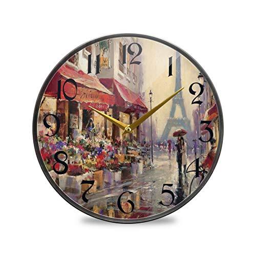 ART VVIES Reloj de Pared Redondo de 12 Pulgadas Que no Hace tictac silencioso Funciona con Pilas Oficina Cocina Dormitorio decoración del hogar-Aprilin Paris