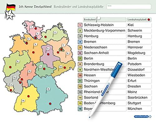 Ich kenne Deutschland - Bundesländer und Landeshauptstädte: Für die 3. bis 5. Klasse - Stabile wiederbeschreibbare Lernvorlage im großen Format, 32,5 ... 32,5 x 25 cm (Vorder- und Rückseite)