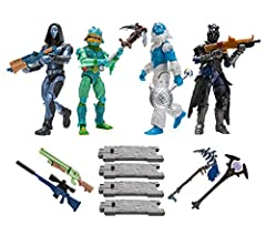 Each 4-inch action figure has 25+ points of articulation and highly detailed decoration inspired by one of the most popular outfits from Epic Games' Fortnite. The kit includes exclusive Heavy Shotgun, Tactical Shotgun, Bolt-Action Sniper Rifle, and P...
