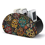 Mexican Sugar Skulls Remote Control Holder Storage Box,Multi-functional Desk Organiser with 5 Compartments for TV Remotes,Makeup Brush,Stationery & Gadgets