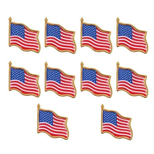 Amosfun 20pcs Bandera Americana Broche pechuga Estrellas y Rayas Solapa Pin Broche Americana EE.UU. Bandera patriótica Solapa Pin Broche