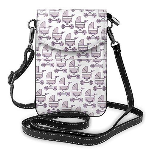 Lsjuee Monedero de cuero para teléfono, bolso bandolera pequeño para cochecito de bebé, bolso para teléfono celular pequeño, bolso de hombro para mujer