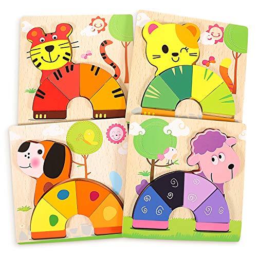 joylink Puzzle in Legno per Bambini, 4 Pezzi Puzzle di Animali Set per 1 2 3 Anni Giocattoli da Animali Puzzle 3D Educativi e di Apprendimento Regali per Bambini Ragazzi Ragazze