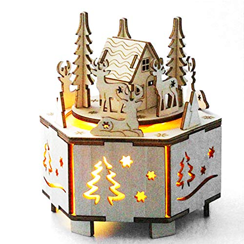 SHANDP Christmas Music Box Gifts Led 3D Puzzles DIY Wooden Musical Box Assembly Craft Gift for Adults and Kids Christmas Decor Model Kit(38pcs) (Christmas Decor Model Kit)