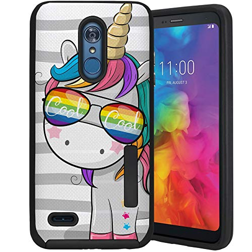 CasesOnDeck Case Compatible with [LG Tribute Dynasty/Aristo 3 /Rebel 4 /Phoenix 4/ Zone 4] [Tactical Grip] Dual Layer Hybrid Case Shock Enhanced Grip Rubberized Exterior (Cool Unicorn)