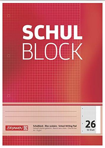 Brunnen 1052526 Schulblock / Notizblock (A4, 50 Blatt, kariert, mit Rand, Lineatur 26, gelocht, kopfverleimt, 70 g/m²)