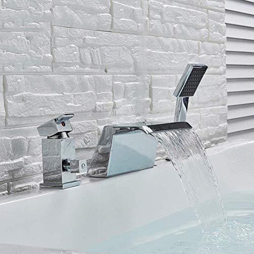 HYY-YY Kraan Keukenkraan Wijdverbreid Waterval Badkuip Kraan Deck gemonteerd Tub Sink Mixer Wijdverbreide Enkele Handgreep met Handdouche Tub Kraan Tap