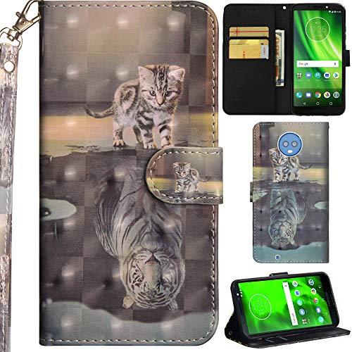 Ooboom Motorola Moto G6 Hülle 3D Flip PU Leder Schutzhülle Handy Tasche Hülle Cover Ständer mit Trageschlaufe Magnetverschluss für Motorola Moto G6 - Katze Tiger