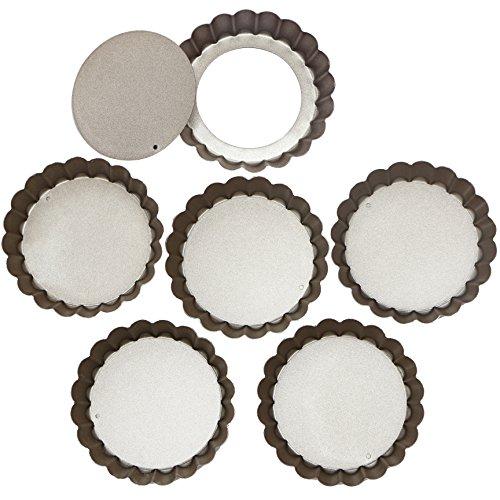 webake Tarteform Mit Hebeboden Ø 10 cm Mini Quicheform Gute Antihaftbeschichtung Pie Form Backform Wellenrand, schnittfest, servierfertig - Set von 6