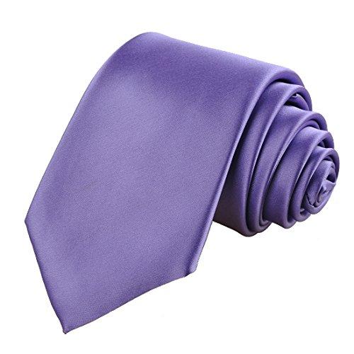KissTies Lavender Tie Solid Necktie Satin Wedding Ties + Gift Box