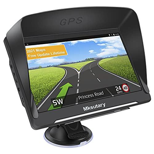 GPS Voiture Auto 7'', Navigation pour Camion Poids Lourd Camping Car, 7 Pouces Écran Tactile avec Support avec Carte Europe Installée Mise à Jour Gratuite à Vie