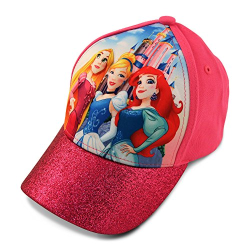 Disney Little Girls Princess Character 3D Pop Cap, Rapunzel, Cinderella, Ariel Princesses, Age 4-7 Pink