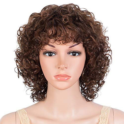 JOEDIR HAIR Short Curly Wigs for Black Women Curly Human Hair Wig with Bangs None Lace Front Wigs 130% Density (DX4/33/30 Brown)
