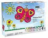 Kreul 42752 - Window Color Fenstermalfarben Set, mit 8 Farben in 80 ml Malflaschen, schwarze Konturenfarbe, Nachtleuchtfarbe, Folien, Glasperlen und Motivvorlagen