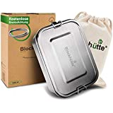 Blockhütte® Premium Edelstahl Brotdose [1200ml] für Kinder inkl. Fächern & GRATIS Ersatzdichtung. - Die Bento Box mit Trennwand ist auslaufsicher. - Brotzeitdose klein.