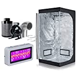 Hongruilite 300w/600w LED Grow Light+600D Mylar Grow Tent+4' Inline Fan Carbon Air Filter Ducting Combo for Hydroponic Indoor Plant Growing System (300W LED+32''x32''x63''Grow Tent+4''Filter Kit)