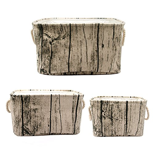 Jacone Stylish Tree Stump Design Rectangular Storage Baskets Durable Fabric Washable Storage Bins Organizers with Rope Handles, Decorative and Convenient for Kids Rooms - Set of 3