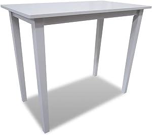 vidaXL Table de Bar en Bois Blanc Table de Salle à Manger Table de Cuisine