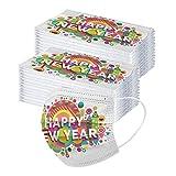 50/100 unidades 2021 Frohes Nuevo Año Nuevo Adulto Bandana de Navidad desechable 3 capas de pendientes bandana impresa, transpirable desechable