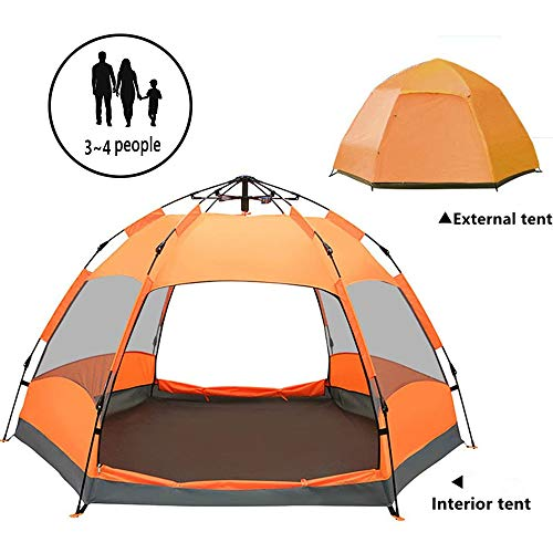 ZYLEDW Outdoor Dome Tent, 3~4 Man Tent Ideal for Camping in the Garden, Waterproof & Anti-UV Protection, Pop up Tent with Sewn-in Groundsheet for Hiking
