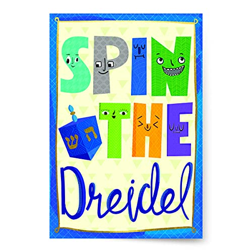 Designer Greetings Hanukkah Packaged Cards for Kids, Spin the Dreidel (8 Cards with White Envelopes)