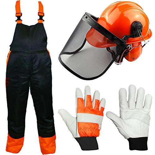 Spares2go - Babero de seguridad para motosierras (L), casco con visera de malla, orejeras, correa para la barbilla y guantes acolchados
