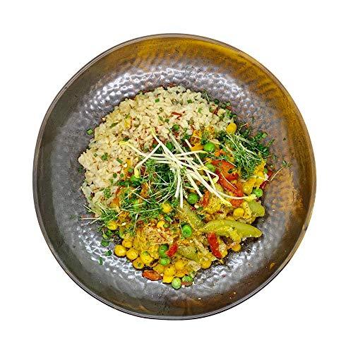 Season Family Fertiggericht Kichererbsen-Curry Vegan mit Reis und Gemüse als Fitness Essen I Fertiggerichte für Mikrowelle oder Pfanne unter Schutzgasatmosphäre verpackt I Inhalt 450 g