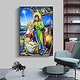 Figura El nacimiento de Jesús, pintura al óleo sobre lienzo, carteles artísticos de pared, impresiones para sala de estar, dormitorio, cuadro de pared, decoración del hogar, 50x70 cm, sin marco