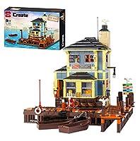 おもちゃの建物セット建物灯台、8歳以上の男の子と女の子と互換性のあるタウンハウスビルディングブロックおもちゃ A
