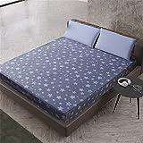 YEHAOFEI Einfache Polyester Schlafzimmer Einfarbig Floral Gedruckt Spannbetttuch Bett Protector Pad Bettlaken Sternenlicht 90X200cmX25
