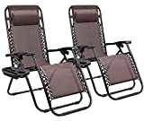 Homall Zero Gravity Chair Patio Folding Lawn Lounge Chairs Outdoor Lounge Gravity Chair Camp Reclining Lounge Chair with Pillows for Poolside Backyard and Beach Set of 2 (Brown)