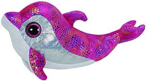 TY 37011 - Sparkles Buddy - Delfin bunt glitzernde Oberseite mit Glitzeraugen, Glubschi's, Beanie Boo's, Large 24 cm, pink