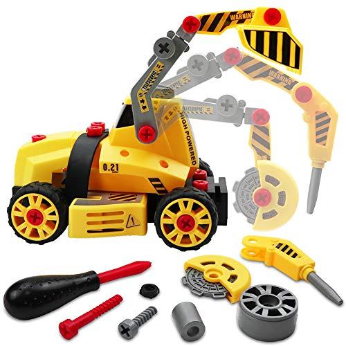 LIVEHITOP Montage Spielzeug Auto LKW, 7 in 1 Baufahrzeug mit Schraubenzieher DIY Auto, Lastwagen Lernspielzeug 3 Jährige Kinder Mädchen Jungen Geschenk Kindertag