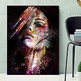 Pinturas de pared de arte de Graffiti abstracto impresas en lienzo impresiones de lienzo de arte pop pinturas al óleo de chicas modernas para decoración de pared de sala de estar 60x80 CM (sin marco)