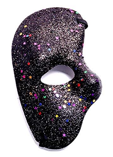 Lovelegis Media mscara Facial - Fantasma de la pera - Coloreada con Brillo - Disfraz - Disfraz - Carnaval - Halloween - Cosplay - Idea de Regalo para cumpleaos - Negro