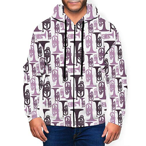 ruziniujidiangongsi Men's Zipper Hoodies Printed Sweatshirt Long Sleeve Coat with Pockets Purple Mellophones