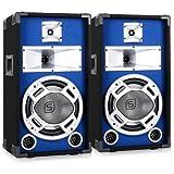 Skytronic 25 Cm de Haut-Parleur DJ Bleu HiFi 2 x 400 w