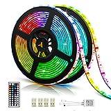 Applighting 32.8ft LED Strip Lights Waterproof, Flexible Color Changing 5050 RGB, 44 Keys IR Remote and 12V Power, DIY Color Options Tape Lights Kit for Ceiling Under Cabinet, Bedroom, Kitchen, TV