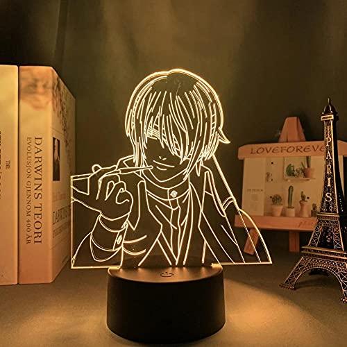Gintama Shinsuke Takasugi Lámpara LED 3D Illusions neón, 16 colores, con mando a distancia, carga USB, guirnalda de luces infantil, decoración de dormitorio