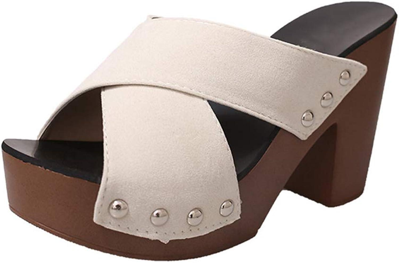 Women Fashion shoes Women Cross Strap Chunky Heel Sandal Thick High-Heeled Flip Flop Platform Open Toe Sandal