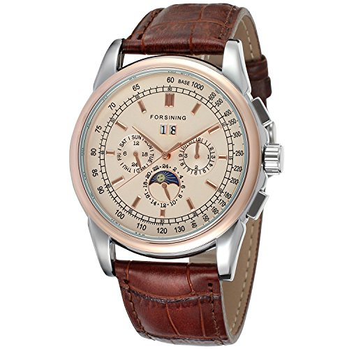 Forsining Men's High-end Automatic Moon Phase Leather Wrist Watch FSG319M3T2