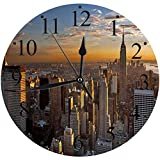 LUHUN Reloj de Pared Moderno,Escénico Exterior Puesta de Sol Panorama Azul Cielo sobre Manhattan Tall Street Vista panorámicareloj de Cuarzo de Cuarzo Redondo No-Ticking para Sala de Estar 30 cm