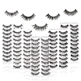 50 Pairs 5 Styles MUSELASH False eyelashes set professional 100% Handmade natural, glamorous, demi wispies, wispies, volume multipacks, cotton band, 10 Pairs Eyes Lashes Each Style…