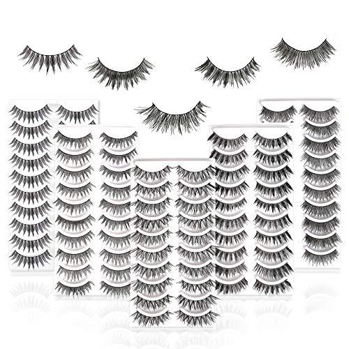 50 Pairs 5 Styles MUSELASH False eyelashes set professional 100% Handmade natural, glamorous, demi wispies, wispies, volume multipacks, cotton band, 10 Pairs Eyes Lashes Each Style…